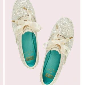 Kate Spade Keds Glitter Sneakers - Cream 7.5